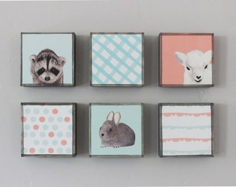 baby girl nursery art-  Choose (6) SIX of our Custom Designs 5x5 geometric kids decor- redtilestudio