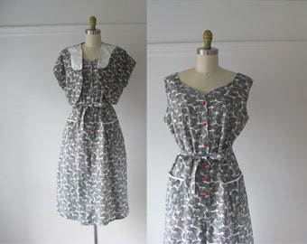 vintage 1950s day dress / 50s dress set / Buttons and Bows