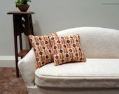Orange and cream abstract modern pillows - set of two - dollhouse miniature