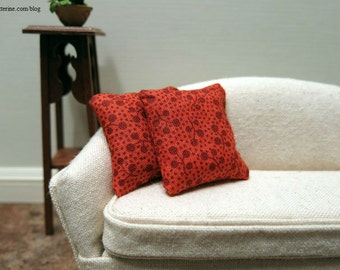 Dark orange abstract modern pillows - set of two - dollhouse miniature