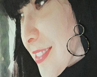 Boho Hoop Earrings, Bohemian Style, Simple Earrings, Everyday Hoop Earrings, Hoop Style, Double Hoops, Handmade Hoop Earrings (2293)