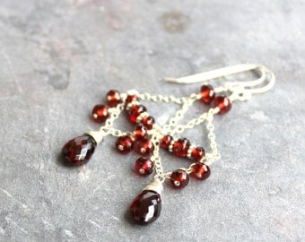 Garnet Chandelier Earrings Sterling Silver Red Gemstone Earrings, Chain Dangle