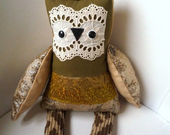Emma  owl ,  soft art  creature toy ,by   Wassupbrothers. stuffed owl, green, olive gold owl, soft sculpture, unique , collectible