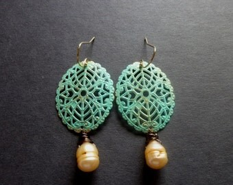 Gold with Verdigris Patina Antiqued Style Filigree Ovals with Mimosa Orange Pearl Briolette 14K Gold Filled Earrings