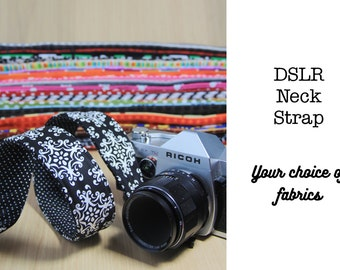 DSLR Camera Strap, Neck or Cross Body, Quick Release - Choose Custom Fabrics - Made to Order