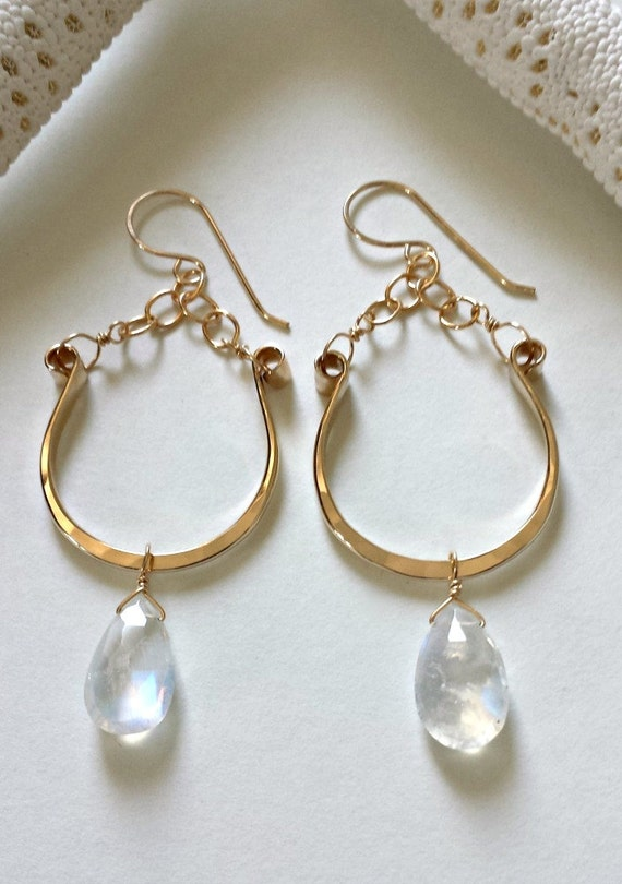 half hoops earrings moonstone hoop earrings half moon hoops crescent moon hoop 4773