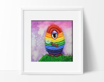 Rainbow Monster Cyclops - Childrens Nursery Bright Fun Wall Art Prin Whimsical Pop Size  5x7 or 8x10