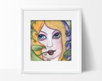 """Girl In Woods Nature Leaves Watercolor Wall Art Print Size 5x7 or 8.5x11 """"Climb The Trees To Touch The Sky"""" Signed by Artist Selina Farmer"""