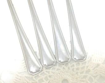 4 Silver Long Spoons Majesco USA Iced Tea Parfait Ice Cream Sundae Malt Lemonade Teaspoon Stainless //