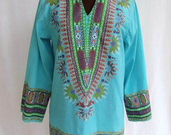 Vintage 60's 70's Tunic Cotton Turquoise Print Festival Hippie Boho Size S / M