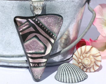 Dichroic Glass Pendant, Fused Glass Jewelry, Necklace; Modern, Contemporary, Geometric, Pastel - Silver Pink / 58mm x 36mm (Item #10715-P)