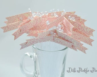 Pink & Ivory Damask Glitter Cocktail Stirrers - 24 count Clear stir sticks