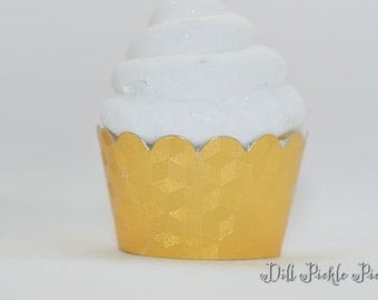 Gold Foil Cupcake Wrappers with Prism embossed print - Standard Cupcake Wraps Set of 40