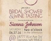 Custom Printable Wine Tasting Bridal Shower Invitations