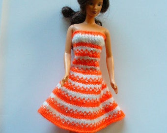 Barbie knit strapless dress in ogange and white stripes with a flared skirt