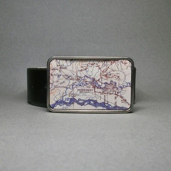 Belt Buckle Fairbanks Alaska Vintage Map on Metal Unique Gift for Men or Women
