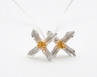 Unusual Flower Earrings, Silver & Gold Flower Earrings, Long Flower Stems Earrings, Designer Earrings, Flower Jewelry, Modern Flowers