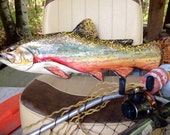 "Brook Trout 26""  detailed chainsaw carving wooden fish sculpture rustic lake lodge decor indoor outdoor wall mount home accent taxidermy art"