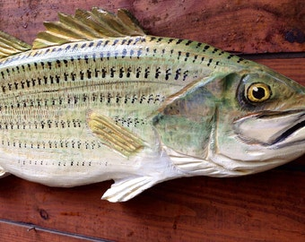 Striped Bass 3ft rustic chainsaw wood sculpture art original indoor outdoor fishing decor taxidermy carving home centerpiece fish wall mount