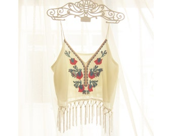 Women's Top Strappy Fringe Cropped Boho Chic Cream Embroidery Bohemian Coachellla Gypsy 2015 Indie Hippie Moroccan Aztec Chiffon Tunic Vest