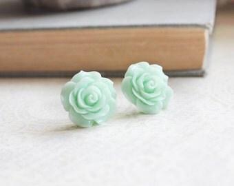 Big Rose Earrings Mint Rose Stud Earrings Surgical Steel Post Earrings Bridal Jewelry Flower Studs Mint Green Wedding Gift for Mom