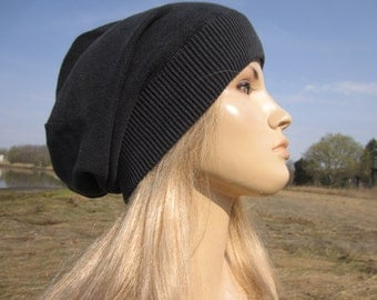 BoHo Clothing Lightweight Slouchy Beanie Black Acid Washed Cotton Knit Tam Baggy Back Women's Summer Hats A1710