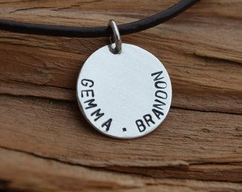 Leather Necklace with Sterling Silver Disc - Personalized - For Him or Her - Stamped Names, Dates, Quotes, Songs - Birthday Gift