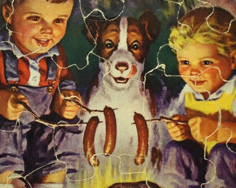 Vintage Child's Puzzle Fairchild Corp Raymond James Stuart Kids Dog Campfire Child's Nursery Decor