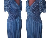 Vintage 80s Micro Pleat Blue Cachet Gown Dress Size 6 Small Glamorous Column Dress Lace Faux Pearl Goddess Wedding Mother of the Bride