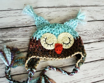 Baby Hat - Sleepy Owl Hat - Aqua and Brown Owl Hat - Robin's Egg Blue Owl Hat - Baby Owl Hat for Baby by JoJosBootique