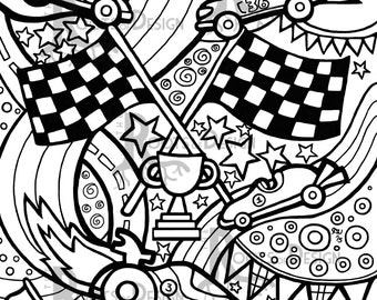 INSTANT DOWNLOAD Coloring Page - Race Cars zentangle inspired, doodle art, printable
