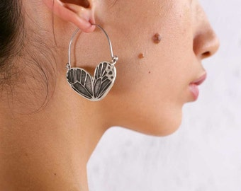Butterfly Wing Earrings - Hoop Earrings  - Boho Earrings