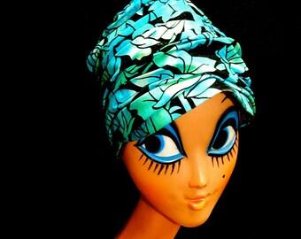 Vintage stylish 50s turquoise blue green black velvet roses flowers bombshell Tiki Hawaiian pleated hat pill box turban by Sears Fashion