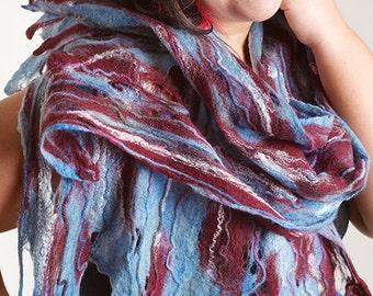 Felted cobweb scarf wrap,  beautifuli colos, Art to wear, cobweb scarf, wool felted scarf, nuno felt scarf, nuno felt