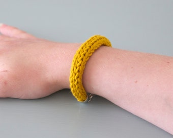 Yellow Knitted Bracelet - Fabric Silver Plated Mustard Yellow Cotton Bangle Jewellery Gift for Her by Emma Dickie Design