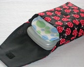 Fabric Diaper Clutch Carrier - Black, Pink and Red Ladybugs