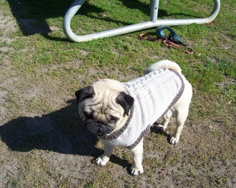 CABLE Sweater for PUG. Handknitted PUG Sweatre.Dog sweater hand knit for pug.Made to Order