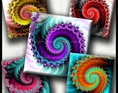 INSTANT DOWNLOAD Colorful Fractals (750) 4x6 Digital Collage Sheet 1 inch square images glass tiles resin pendants magnets cabochon images