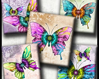 INSTANT DOWNLOAD Mandala Butterflies (760) 4x6 Printable Digital Collage Sheet ( 0.75 inchx0.83 inch) scrabble tiles resin cabochon images
