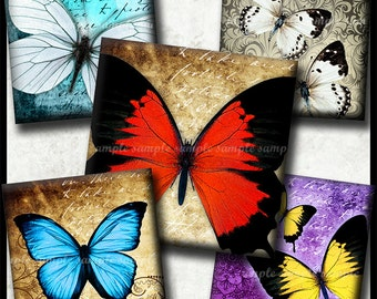 INSTANT DOWNLOAD Vintage Butterflies (761) 4x6 Digital Collage Sheet 1 inch square images glass tiles resin pendants magnets cabochon images