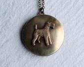 Scottie Dog Locket ... Vintage Terrier Airedale West Highland Scotland Pet Brass