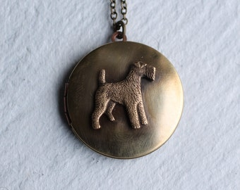 Scottie Dog Locket ... Vintage Terrier Airedale West Highland Scotland Pet Brass