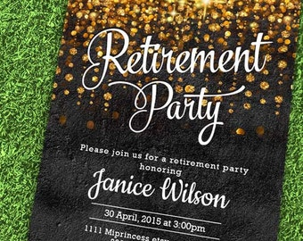 Wall texture,  Retirement Invitations,  Retirement party Invitation,  Retirement Celebration  gold glitter, wall texture design- card 571