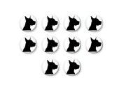 10 pcs Dog Silhouette, 12mm Glass Cabochon, Glass Dome, Cameo, Glass Cabs, Round Cabochon, 12mm Cabochon, C1035