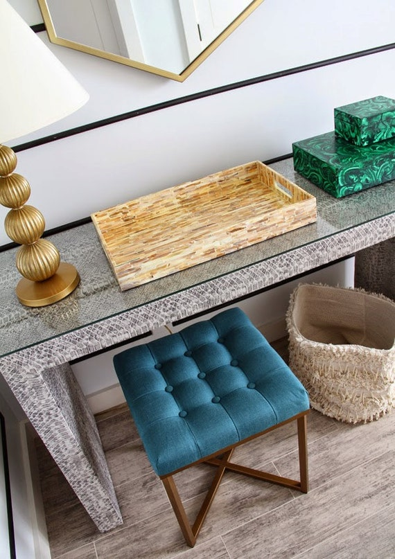 Custom Built Upholstered Waterfall Parson's Console Table - Design Your OWN