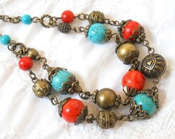 SALE boho necklace gemstone necklace turquoise necklace red necklace coral and turquoise necklace stone jewelry turquoise and coral necklace