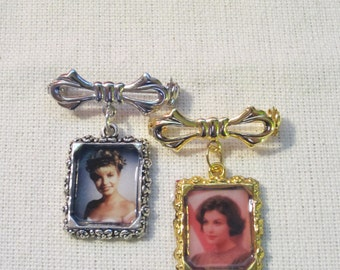 Laura or Audrey Adorable Bow Portrait Brooch, inspired by Twin Peaks.