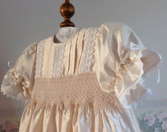 Christening gown,bonnet and matching petticoat, Blush Pink Silk, Hand smocked, Size up to 6 months. Ready to ship