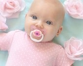 Pink Kissy Face Custom Hand Painted on Dr Brown's brand Pacifier by PiquantDesigns