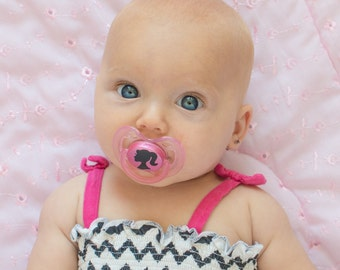 Pink Cameo Doll Face Custom Hand Painted Pacifier by PiquantDesigns